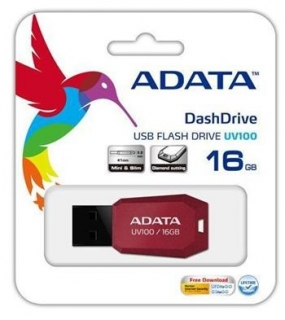A-DATA DashDrive Series UV100 16GB USB 2.0 flashdisk, slim, červený
