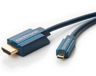ClickTronic HQ OFC HDMI <> micro HDMI, zlacené, HDMI HighSpeed with Ethernet 1m - CLICK70326