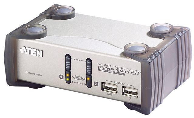 ATEN 2-port KVMP USB+PS/2, usb hub, audio, 1.2m kabely CS-1732A - CS-1732